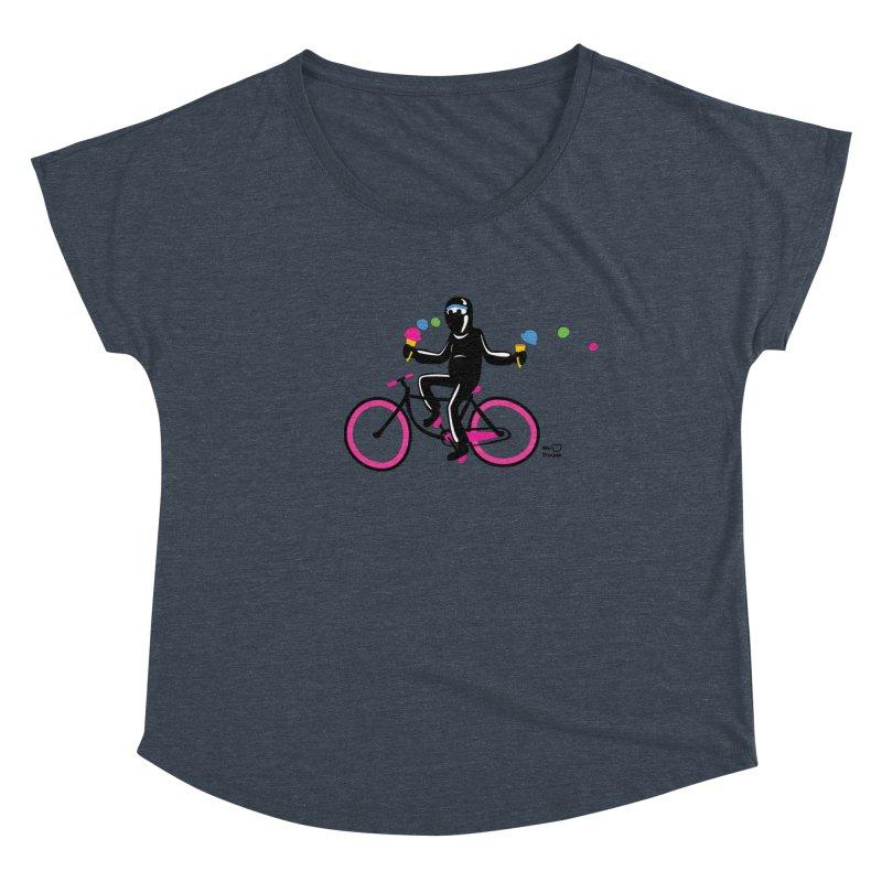 Ninja on a neon pink bike! Women's Scoop Neck by Weheartninjas's Artist Shop