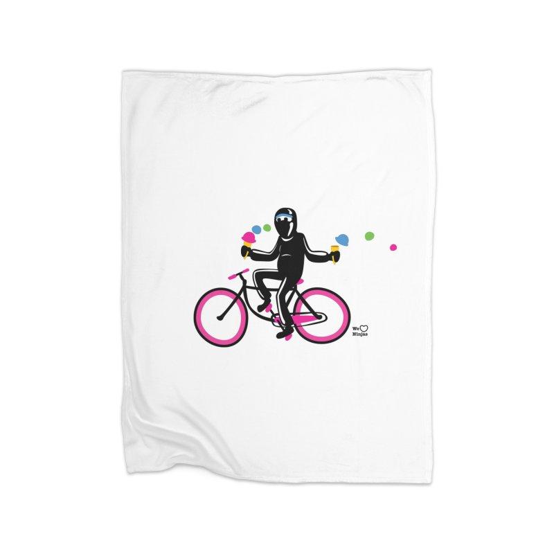 Ninja on a neon pink bike! Home Blanket by Weheartninjas's Artist Shop