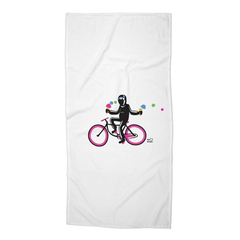 Ninja on a neon pink bike! Accessories Beach Towel by Weheartninjas's Artist Shop