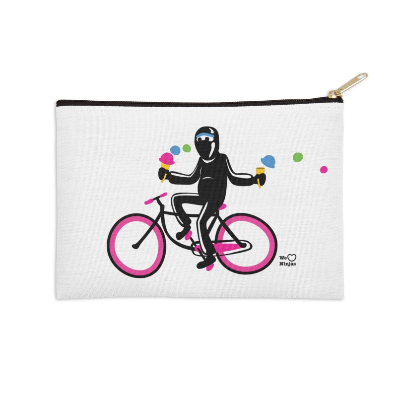 Ninja on a neon pink bike! Accessories Zip Pouch by Weheartninjas's Artist Shop