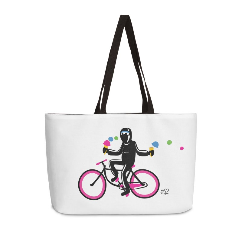 Ninja on a neon pink bike! Accessories Weekender Bag Bag by Weheartninjas's Artist Shop