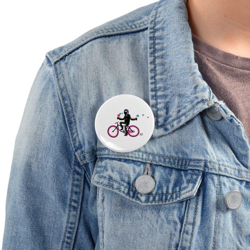 Ninja on a neon pink bike! Accessories Button by Weheartninjas's Artist Shop