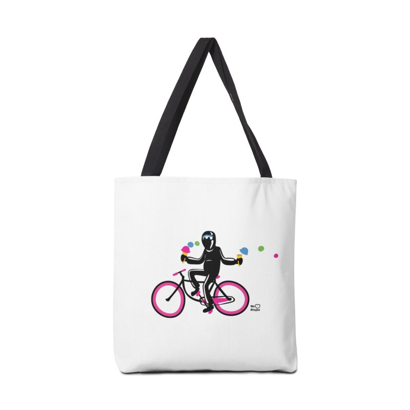 Ninja on a neon pink bike! Accessories Bag by Weheartninjas's Artist Shop