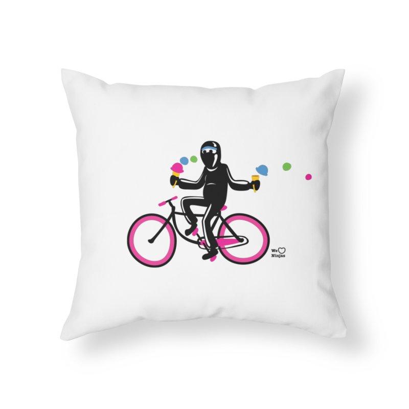 Ninja on a neon pink bike! Home Throw Pillow by Weheartninjas's Artist Shop