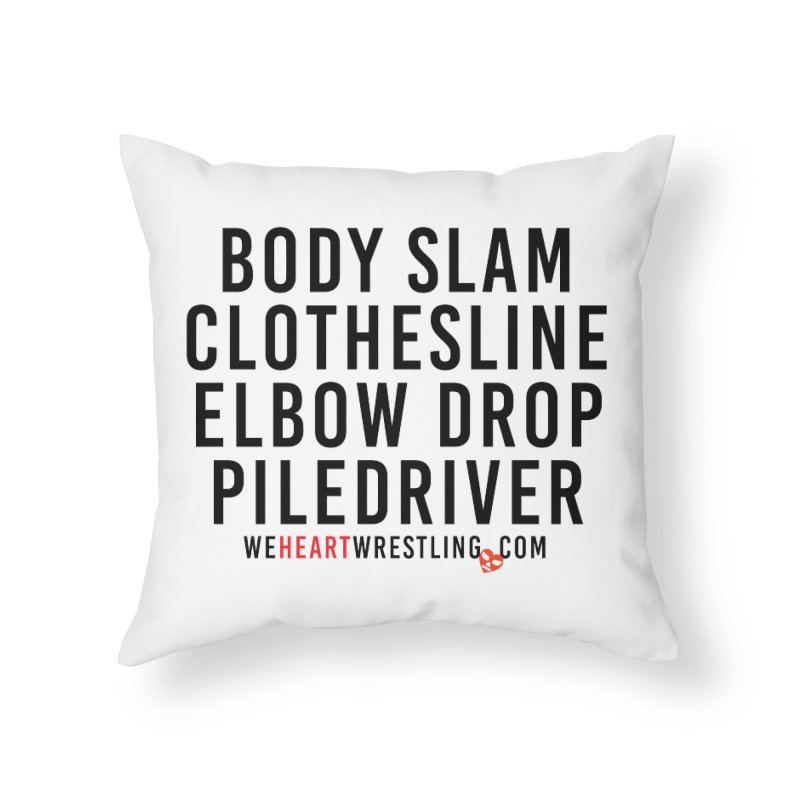 Old School Moves | Black Home Throw Pillow by We Heart Wrestling