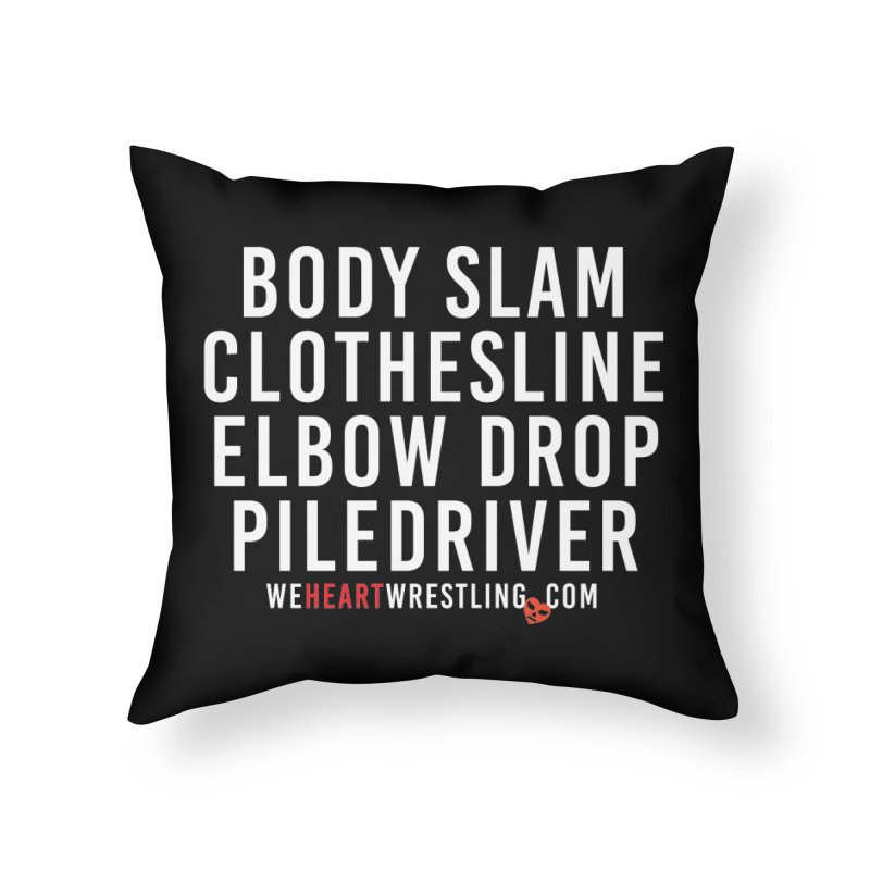 Old School Moves | White Home Throw Pillow by We Heart Wrestling