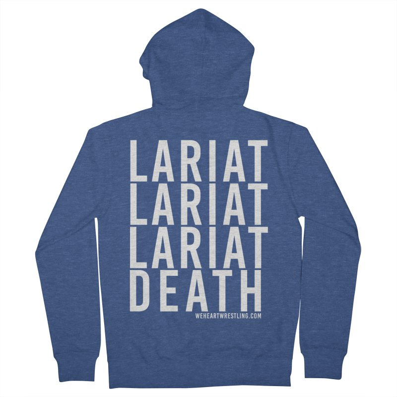 Lariat Death | White Men's French Terry Zip-Up Hoody by We Heart Wrestling
