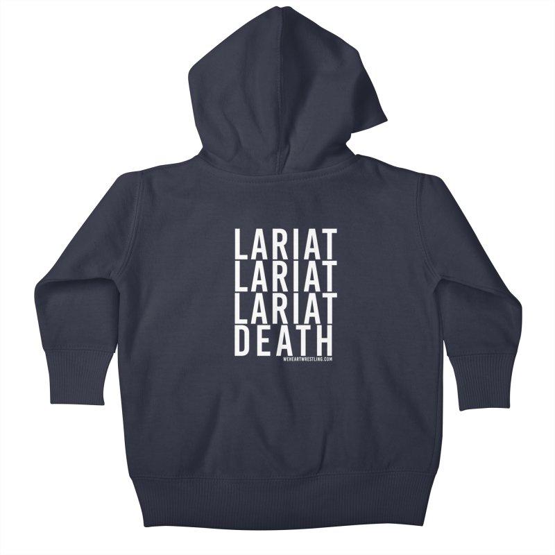 Lariat Death | White Kids Baby Zip-Up Hoody by We Heart Wrestling