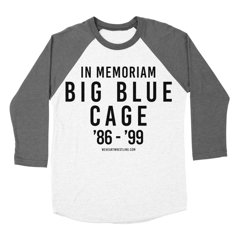 Big Blue Cage | Black Type Women's Baseball Triblend Longsleeve T-Shirt by We Heart Wrestling