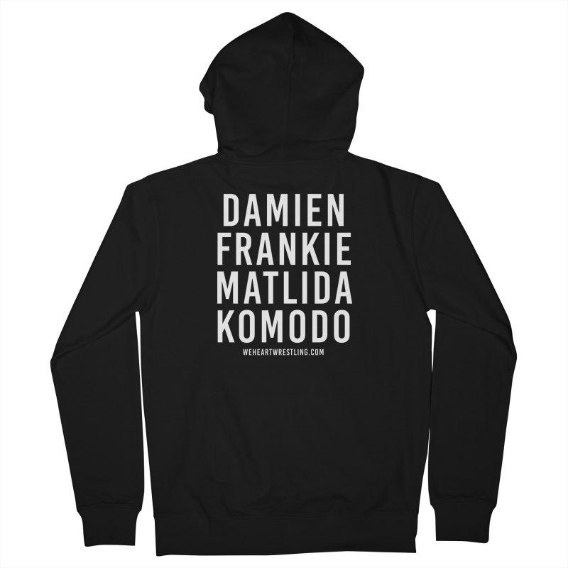 Damien Frankie Matilda Komodo | White Type Men's French Terry Zip-Up Hoody by We Heart Wrestling