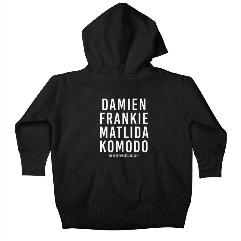 Damien Frankie Matilda Komodo | White Type Kids Baby Zip-Up Hoody by We Heart Wrestling