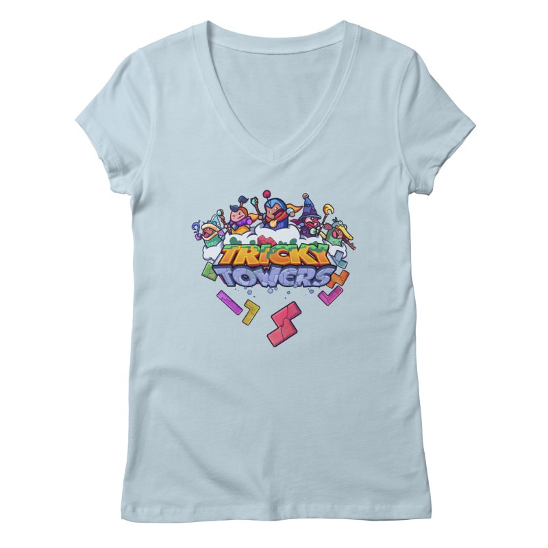 Tricky Towers Women's Regular V-Neck by WeirdBeard Games Shop