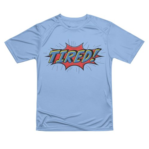 image for Tired comic design geeky - blue and yellow text