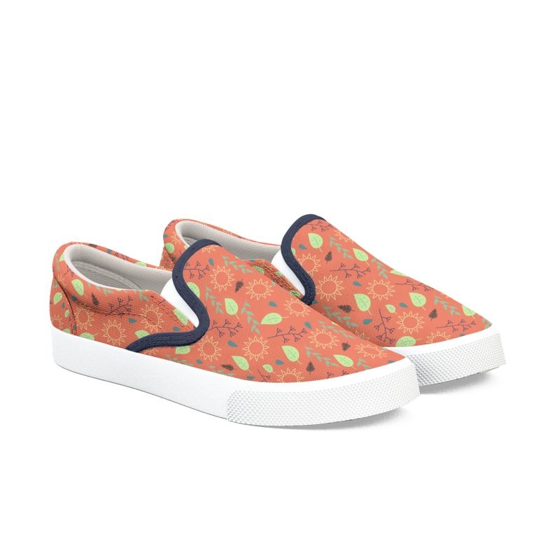 Sun Leaves and Rain in Women's Slip-On Shoes by WeirdPeople's ArtistShop