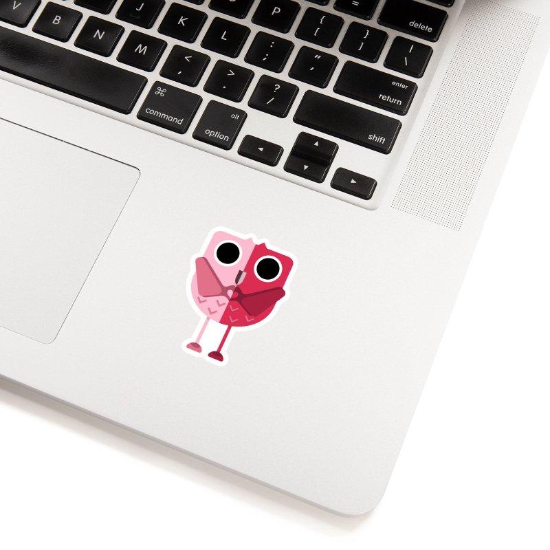 Heart Owl in White Sticker by WeirdPeople's ArtistShop