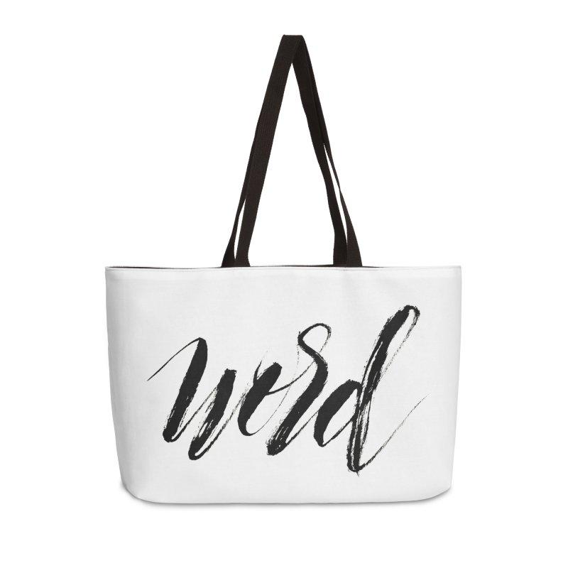 Word Accessories Weekender Bag Bag by wellchosenletters' Artist Shop