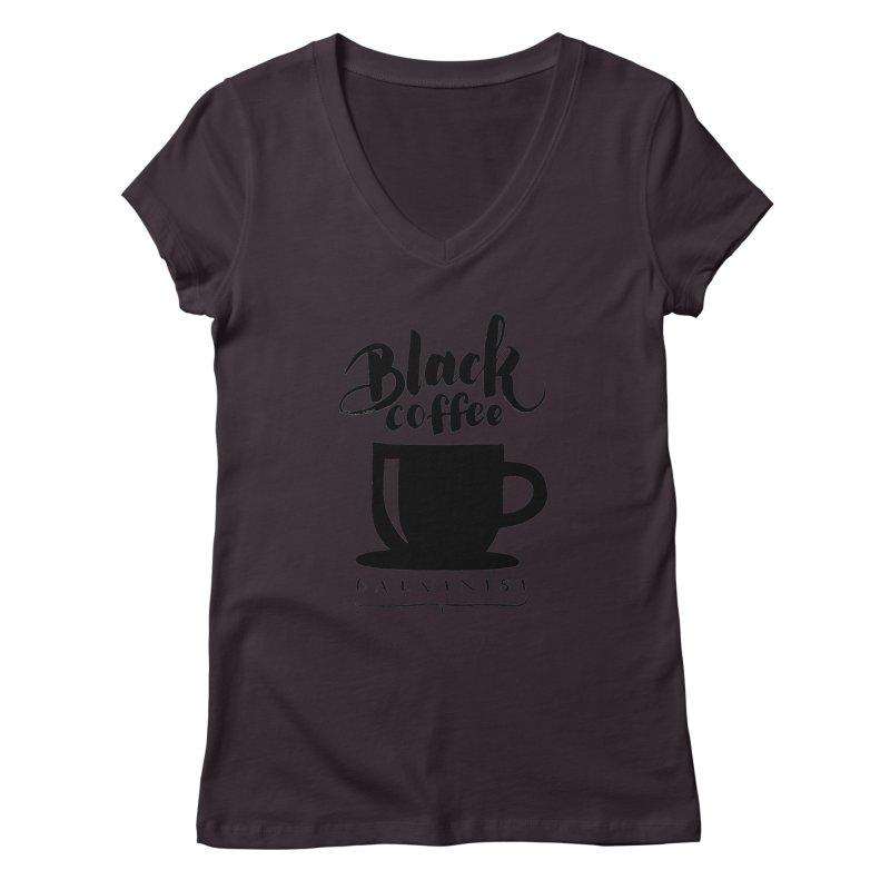 Black Coffee Calvinist Women's V-Neck by wellchosenletters' Artist Shop
