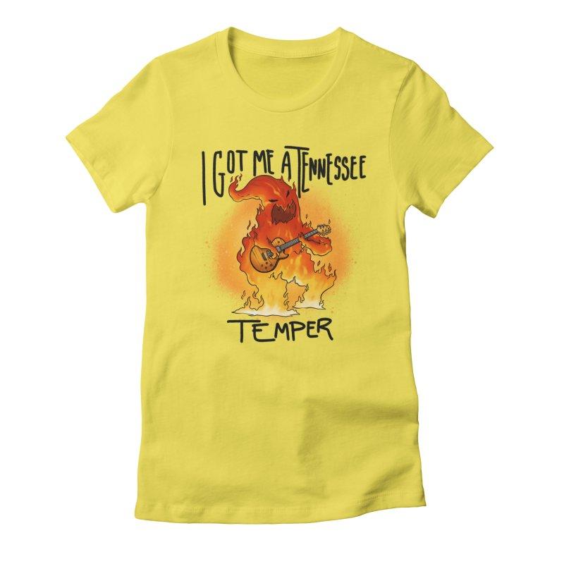 Tennessee Temper Flaming Rocker GURLS T-Shirt by Werking Gurl