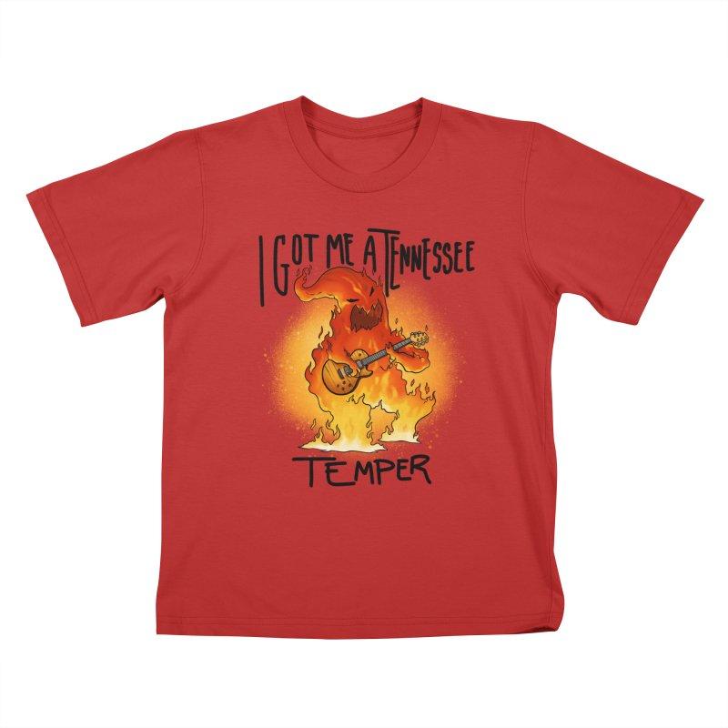 Tennessee Temper Flaming Rocker Kids T-Shirt by Werking Gurl