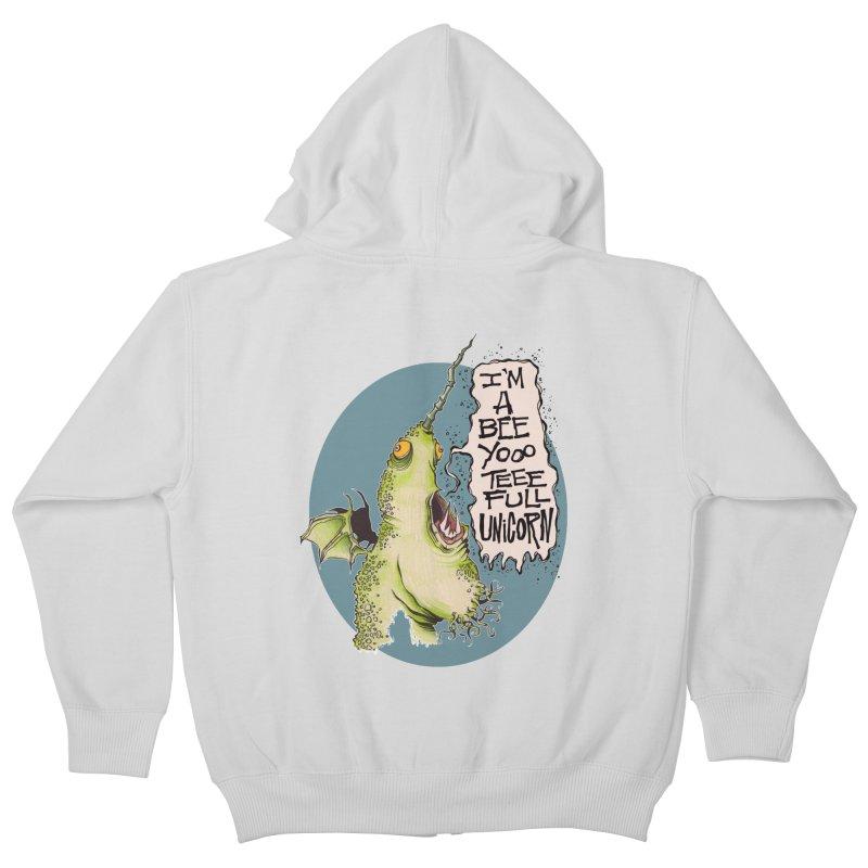 Beeyoooteeefull Unicorn Kids Zip-Up Hoody by westinchurch's Artist Shop