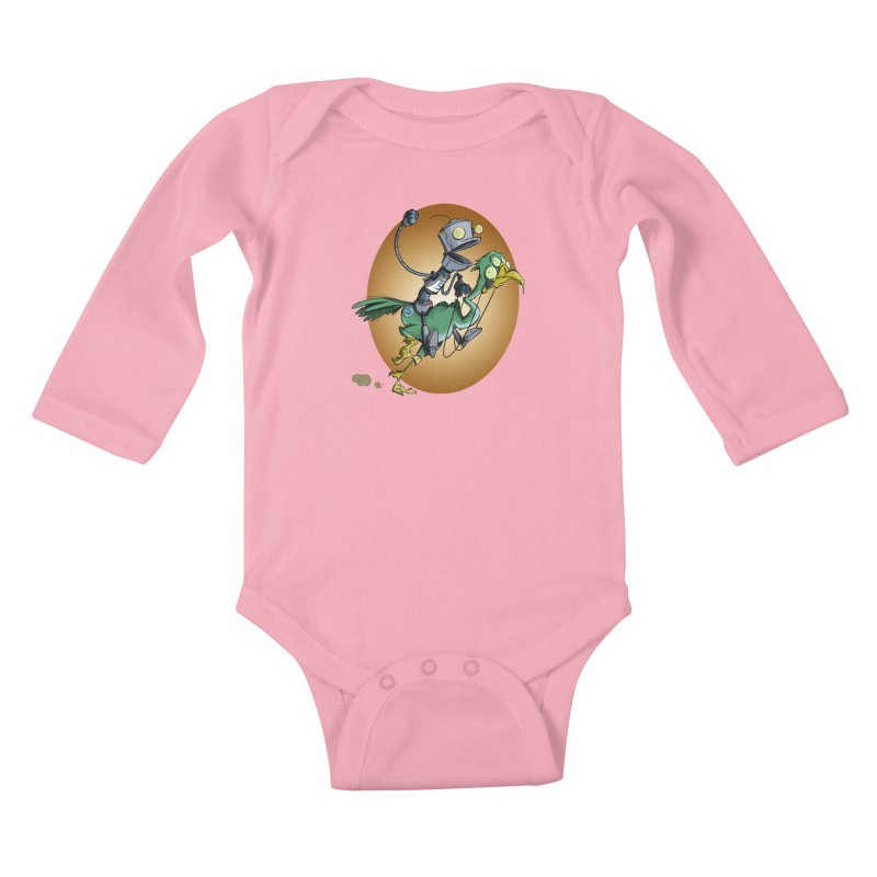 Ostrich Race Kids Baby Longsleeve Bodysuit by westinchurch's Artist Shop