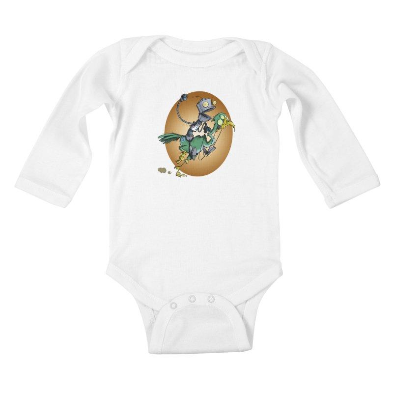 Ostrich Race Kids Baby Longsleeve Bodysuit by westinchurch's Artist Shop