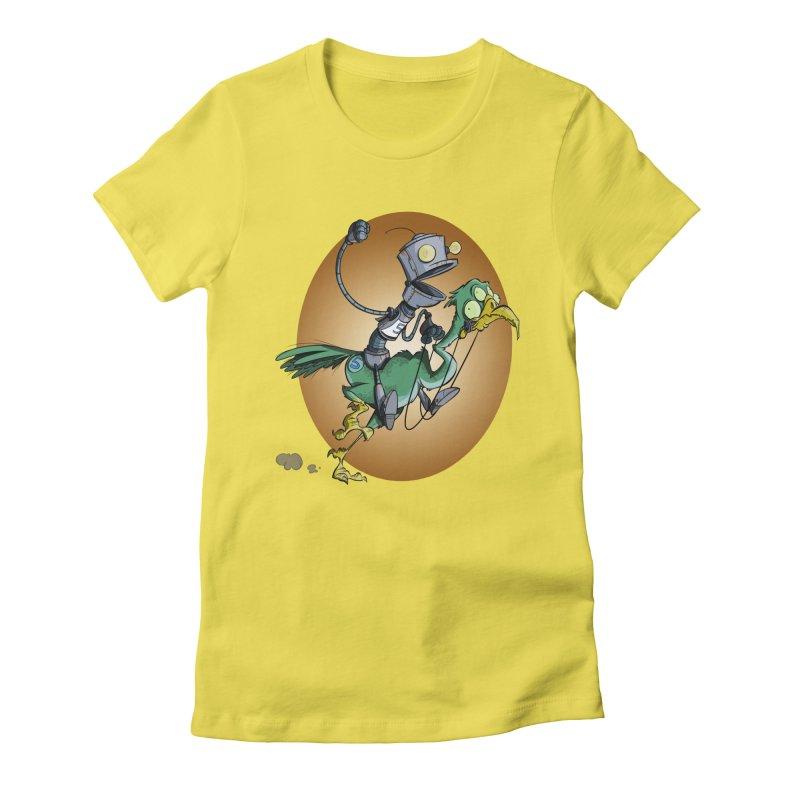 Ostrich Race Women's Fitted T-Shirt by westinchurch's Artist Shop