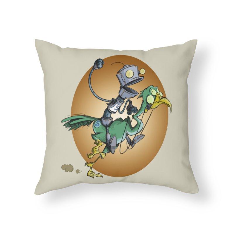 Ostrich Race Home Throw Pillow by westinchurch's Artist Shop