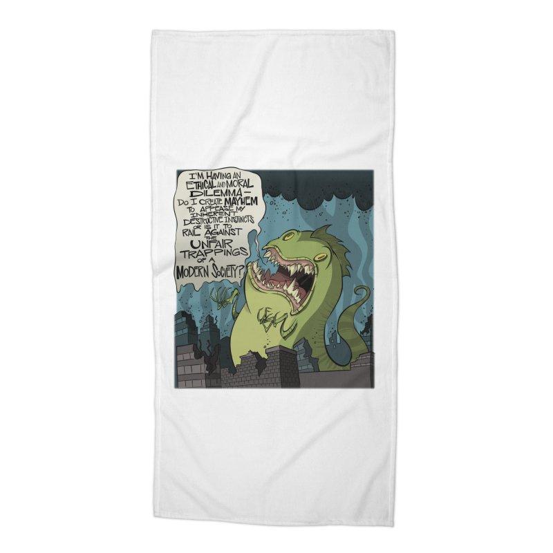 Existential Godzilla Accessories Beach Towel by westinchurch's Artist Shop