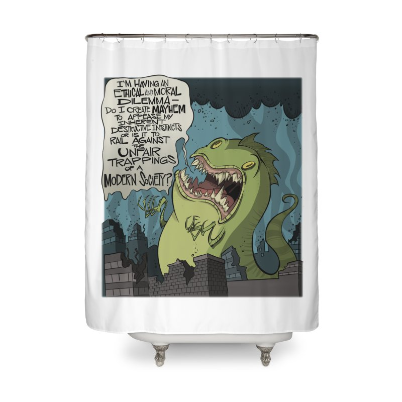 Existential Godzilla Home Shower Curtain by westinchurch's Artist Shop
