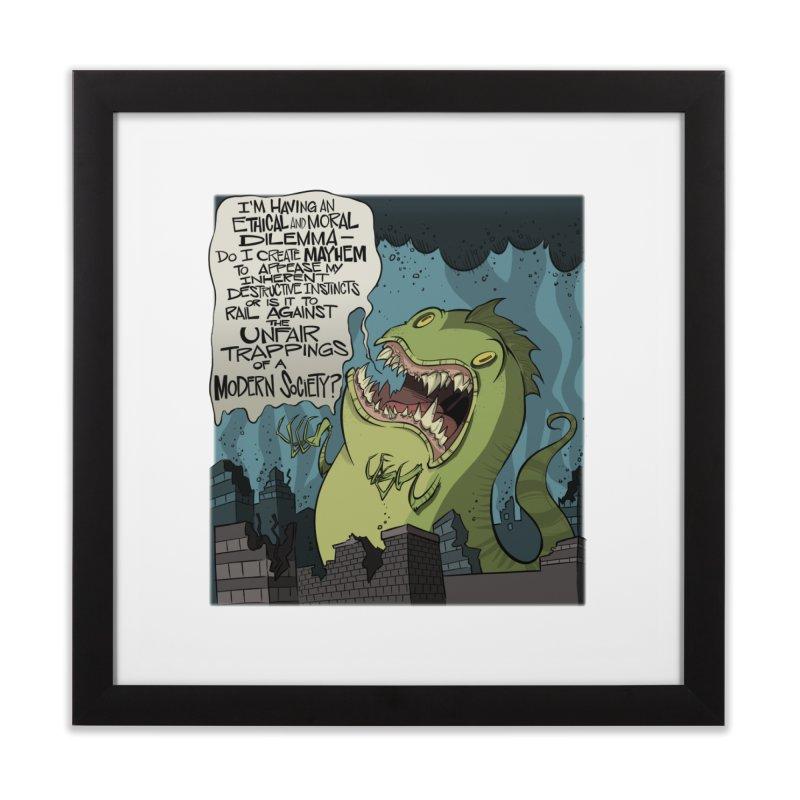 Existential Godzilla Home Framed Fine Art Print by westinchurch's Artist Shop