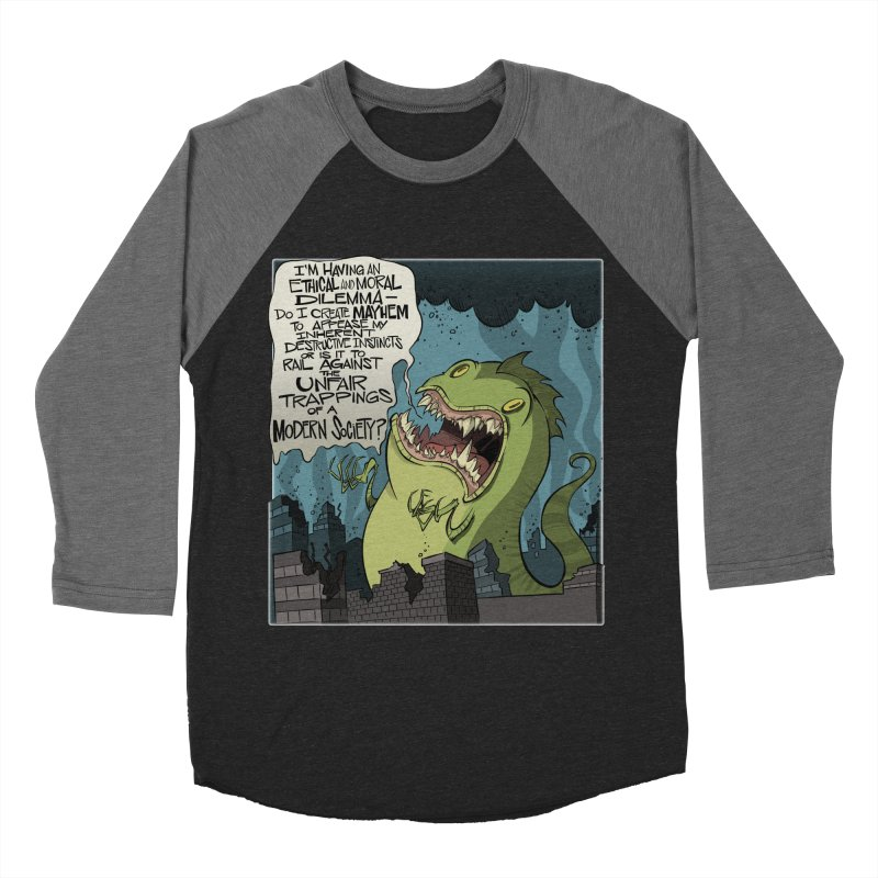 Existential Godzilla Men's Baseball Triblend T-Shirt by westinchurch's Artist Shop