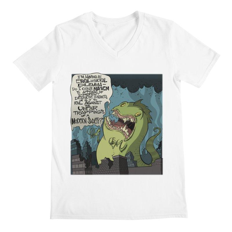 Existential Godzilla Men's V-Neck by westinchurch's Artist Shop