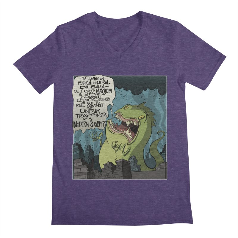 Existential Godzilla Men's V-Neck by westinchurch's Artist Shop