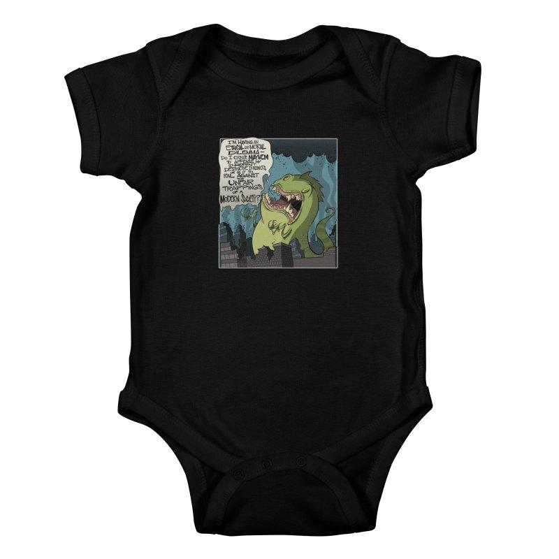 Existential Godzilla Kids Baby Bodysuit by westinchurch's Artist Shop