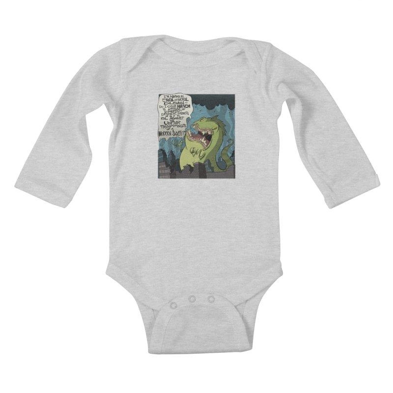 Existential Godzilla Kids Baby Longsleeve Bodysuit by westinchurch's Artist Shop