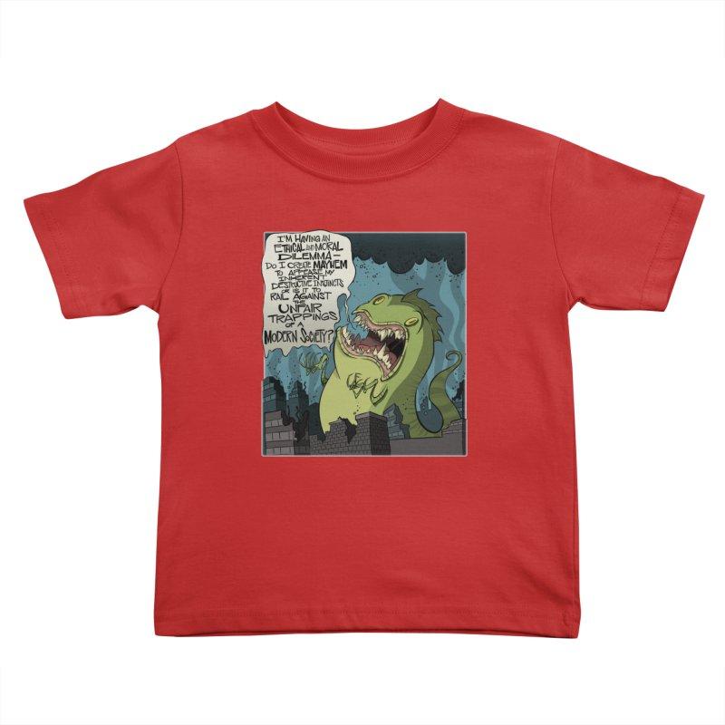 Existential Godzilla Kids Toddler T-Shirt by westinchurch's Artist Shop