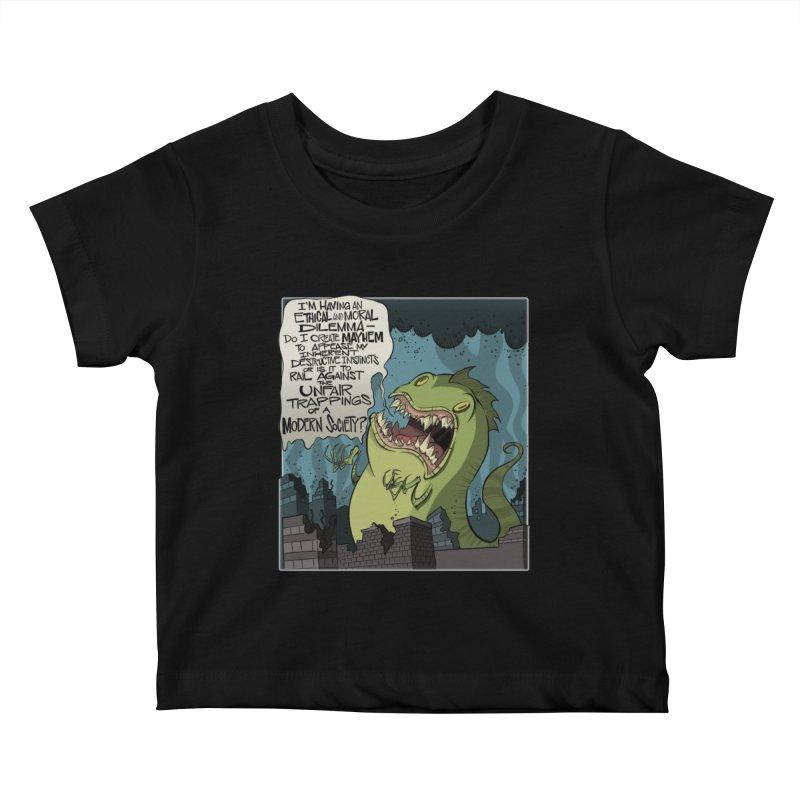Existential Godzilla Kids Baby T-Shirt by westinchurch's Artist Shop