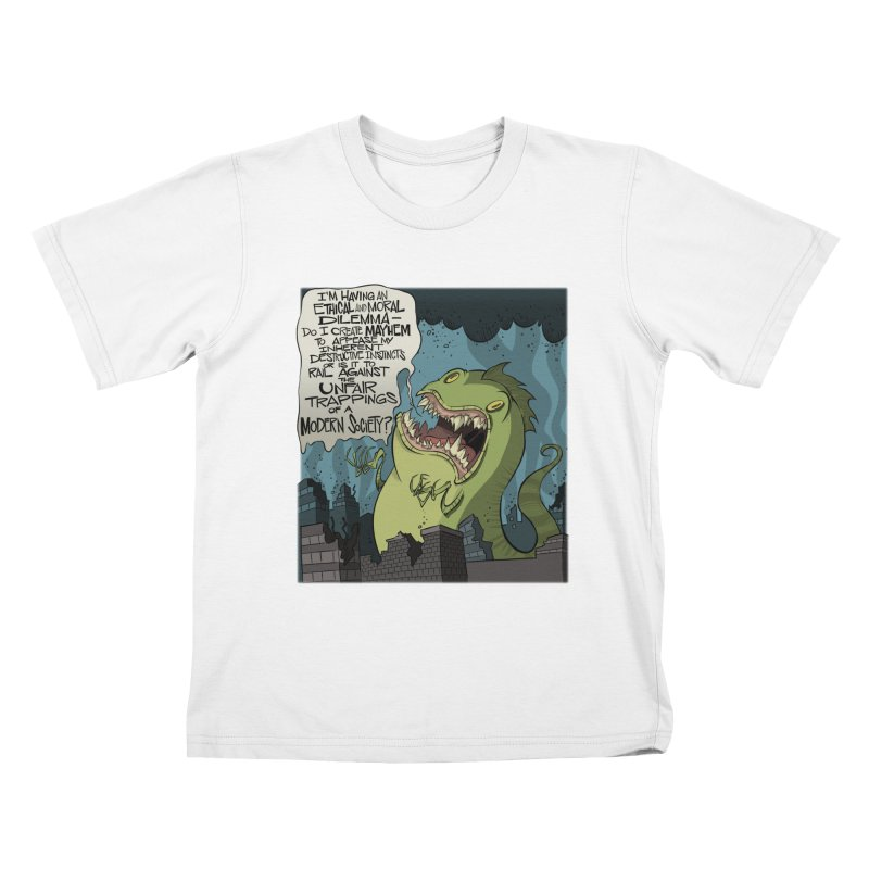 Existential Godzilla Kids T-shirt by westinchurch's Artist Shop