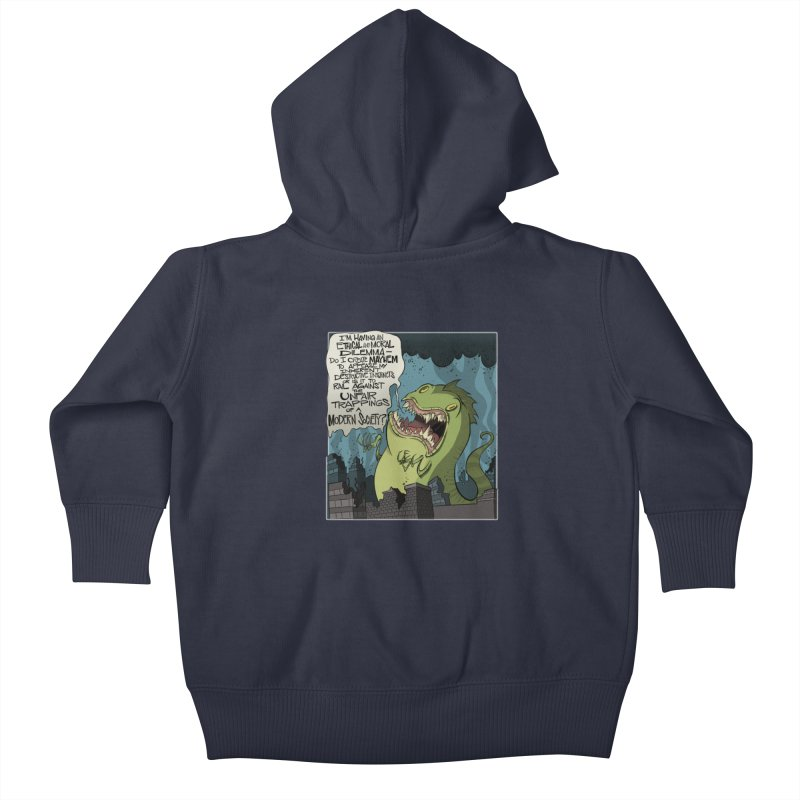 Existential Godzilla Kids Baby Zip-Up Hoody by westinchurch's Artist Shop
