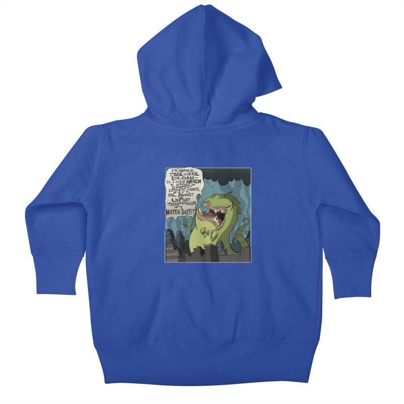 Existential Godzilla Kids Baby Zip-Up Hoody by westinchurch's Artist Shop