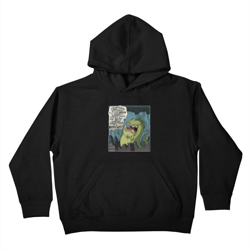 Existential Godzilla Kids Pullover Hoody by westinchurch's Artist Shop