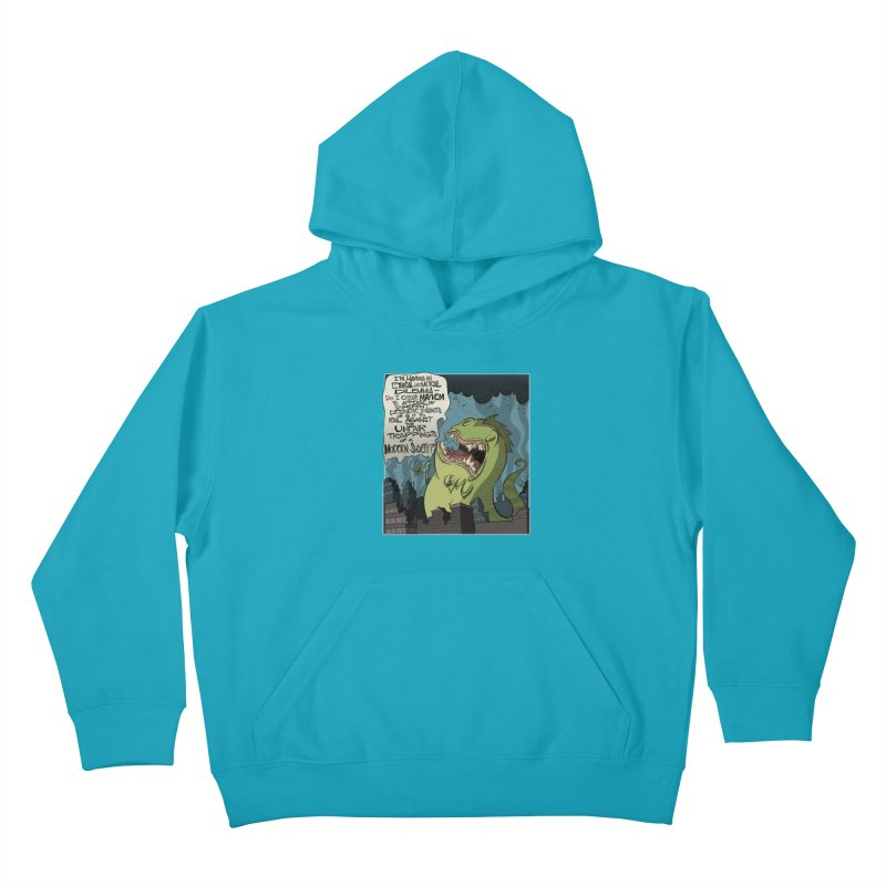 Existential Godzilla Kids Pullover Hoody by westinchurch's Artist Shop