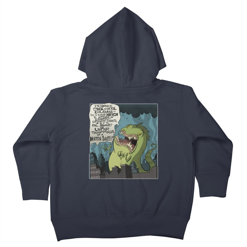 Existential Godzilla Kids Toddler Zip-Up Hoody by westinchurch's Artist Shop