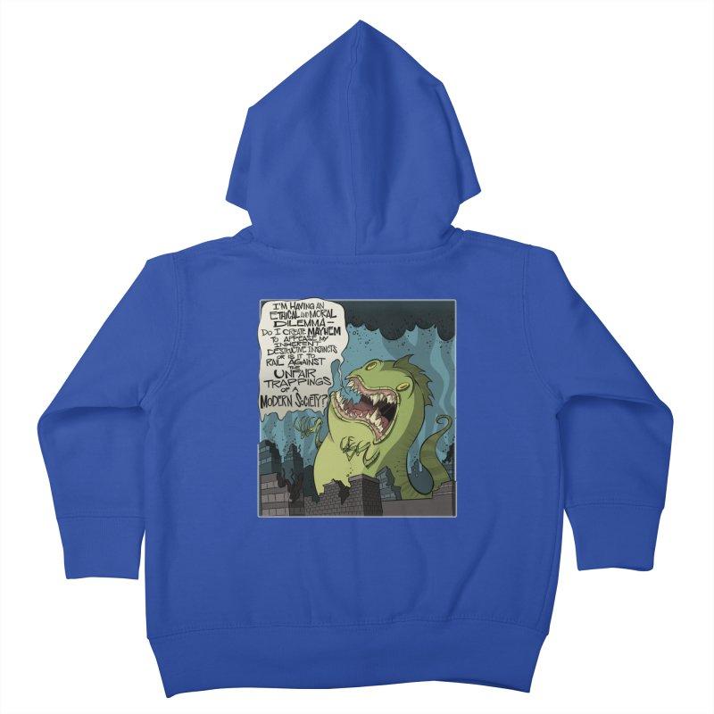 Existential Godzilla Kids Toddler Zip-Up Hoody by westinchurch's Artist Shop