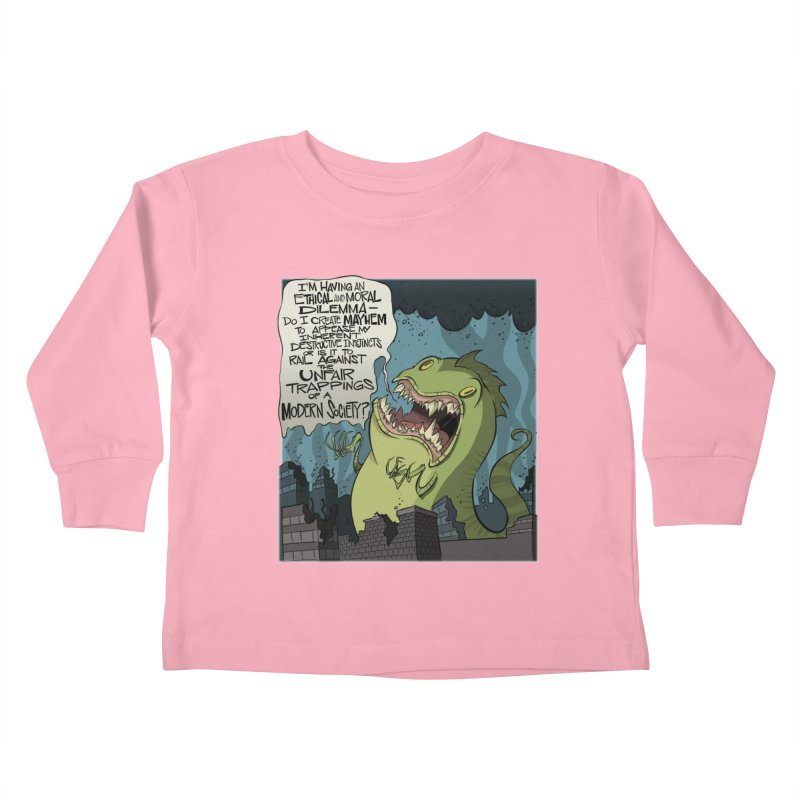 Existential Godzilla Kids Toddler Longsleeve T-Shirt by westinchurch's Artist Shop