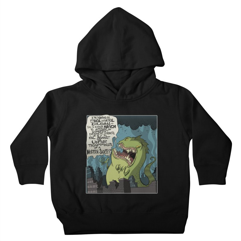 Existential Godzilla Kids Toddler Pullover Hoody by westinchurch's Artist Shop