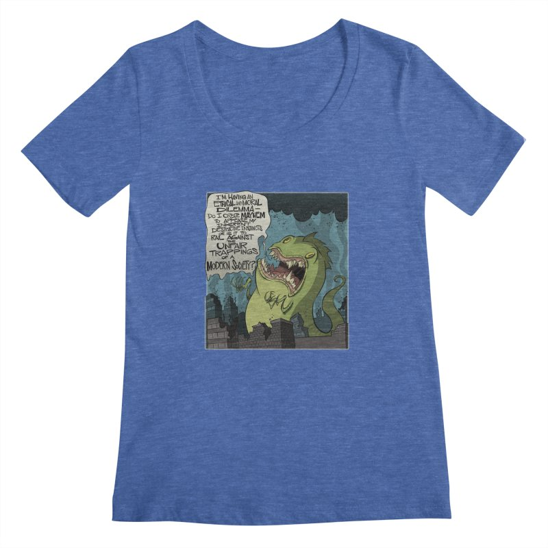 Existential Godzilla Women's Scoopneck by westinchurch's Artist Shop