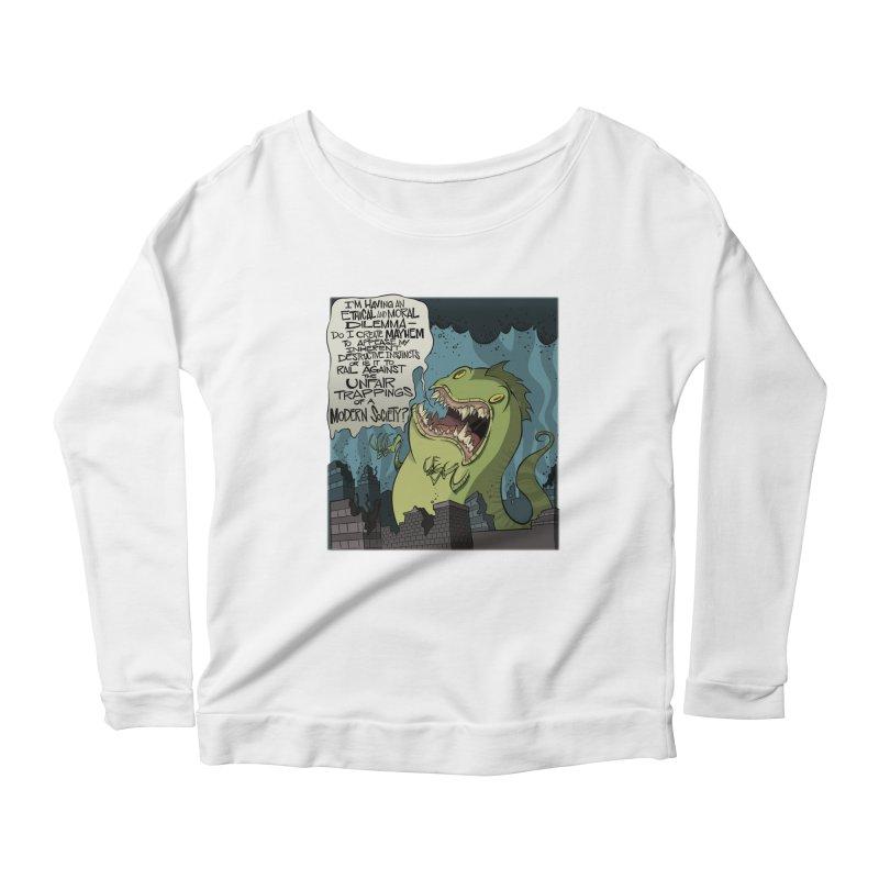 Existential Godzilla Women's Longsleeve Scoopneck  by westinchurch's Artist Shop