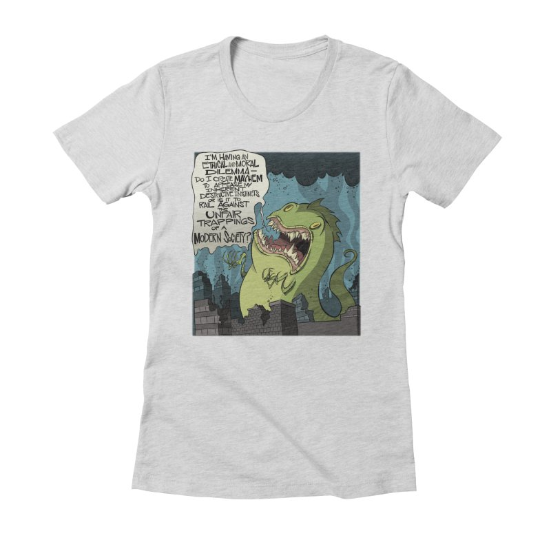 Existential Godzilla Women's Fitted T-Shirt by westinchurch's Artist Shop